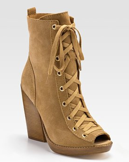This stacked heel version gives a sporty edge to the classic open-toed bootie shape.  KOS Michael Kors Angie suede lace-up bootie ($140)
