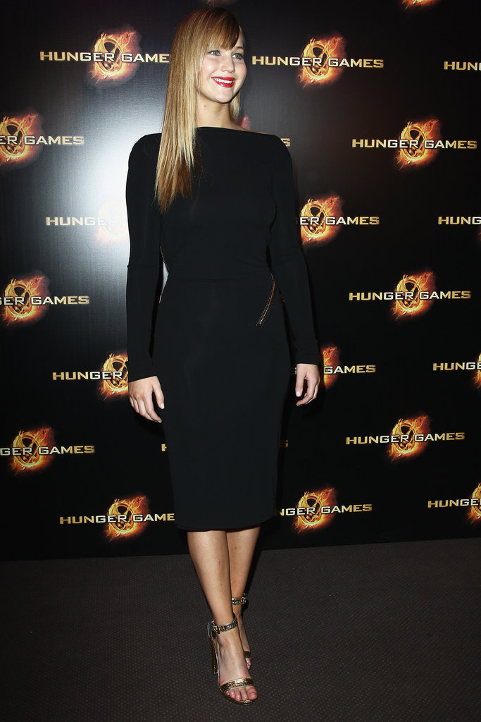 Jennifer Lawrence in Tom Ford at <em>The Hunger Games</em> Paris Photo Call