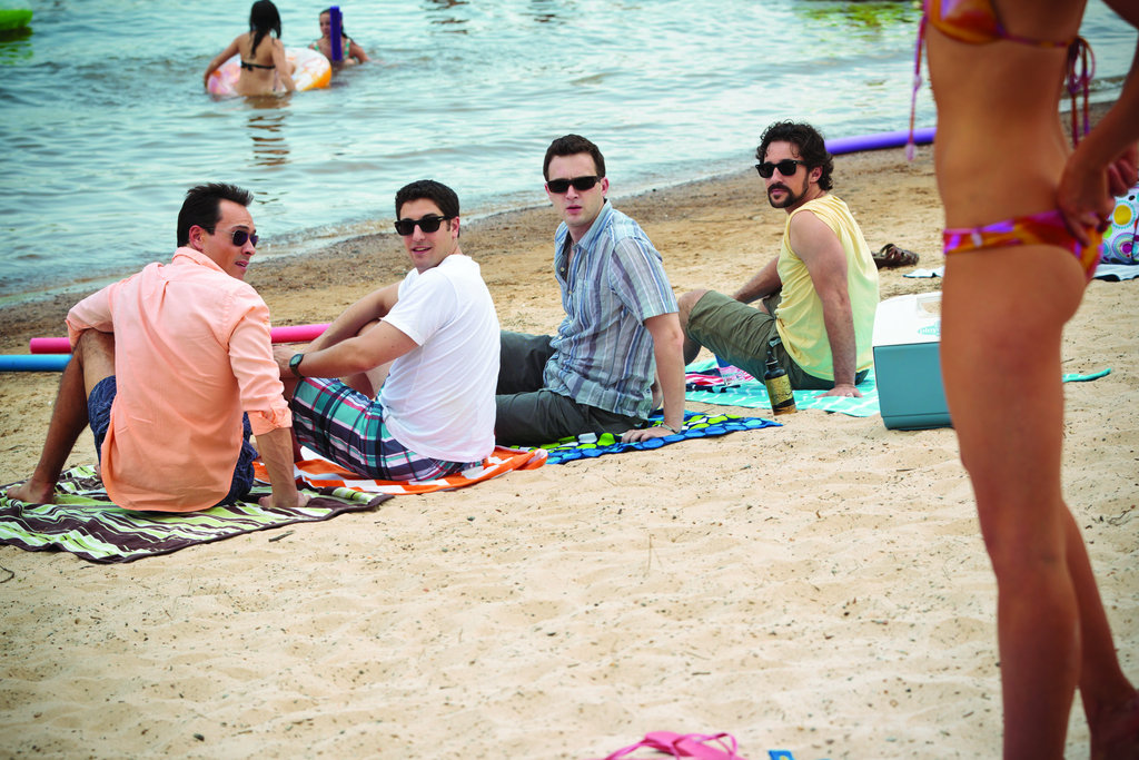 Chris Klein as Oz, Jason Biggs as Jim, Eddie Kaye Thomas as Finch, and Thomas Ian Nicholas as Kevin in American Reunion.  Photo courtesy of Universal Pictures