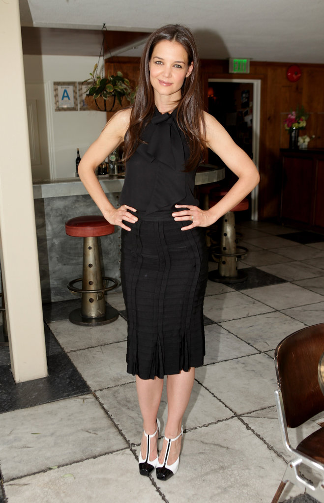 Katie Holmes outfitted a perfectly chic LBD by her own Holmes & Yang line at the 25 Most Powerful Stylists Luncheon.