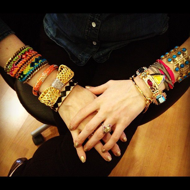 Charmandchain outfitted two wrists full of statement bangles.