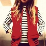 We love these preppy-smart stripes and red combo from sarahstlifer.