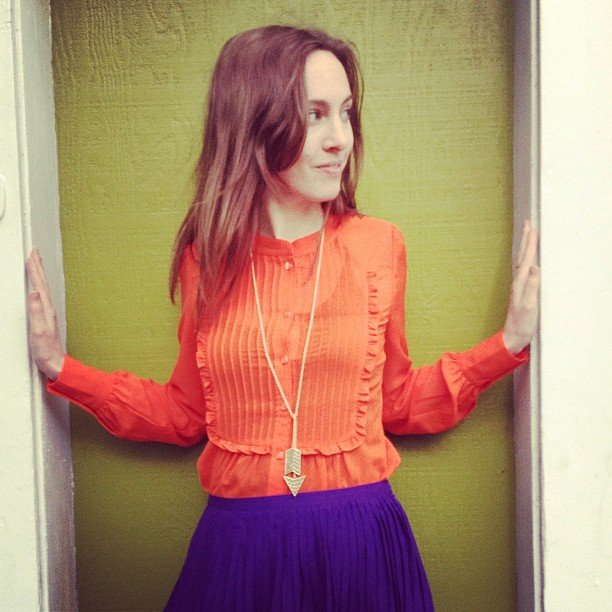 "BellaSugar's admiringd gave us a sweet take on colorblocking for ""show us your brights"" Friday."