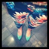 Floral pants and a pop of bright footwear on almalusplace.