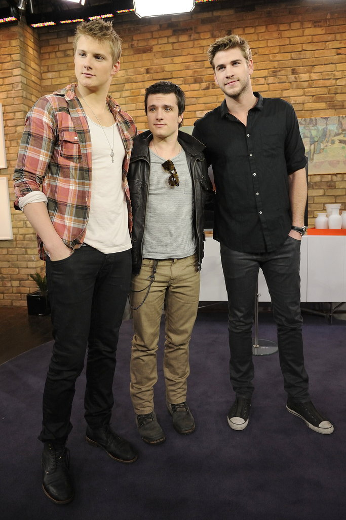 Josh Hutcherson and Liam Hemsworth pose with Alexander Ludwig.