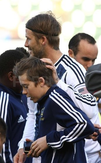 Brooklyn Beckham with dad, David, at the LA Galaxy home game.