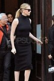 Charlize Theron in all black for an interview with The Today Show in NYC.