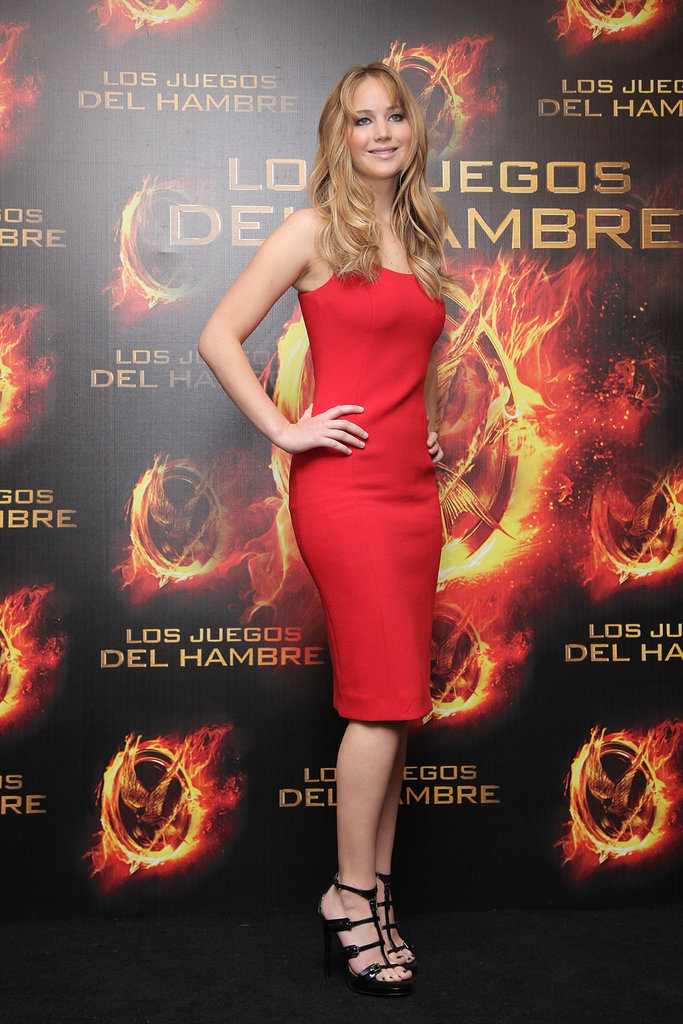 Jennifer Lawrence wore a red Michael Kors dress to a press event in Mexico City in February.