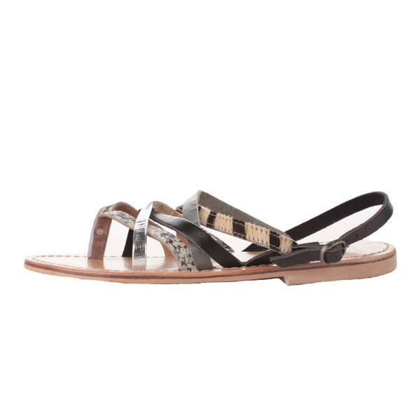 Black leather, metallic leather, and calf hair crisscross to create this tricolored, strappy sandal.  Bibi Lou Flat Sandal ($150)