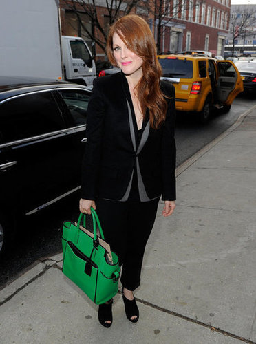 Julianne Moore Carrying a Green Bag