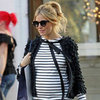 Pregnant Sienna Miller in a Striped Shirt Pictures in London
