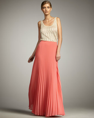 A maxi skirt with a ladylike appeal, thanks to the soft coral hue and pleating detail.  Halston Heritage Pleated Maxi Skirt ($425)