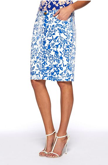 Diane von Furstenberg teamed up with Current/Elliott to create this ladylike-meets-cool denim printed pencil skirt; we love it.  Diane von Furstenberg Skinny Skirt ($229)