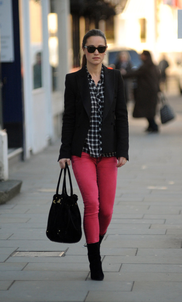 Pippa opted for red denim and complemented the look with plaid and a blazer.