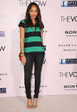 Revenge's Ashley Madekwe outfitted her skinnies with seasonal stripes.