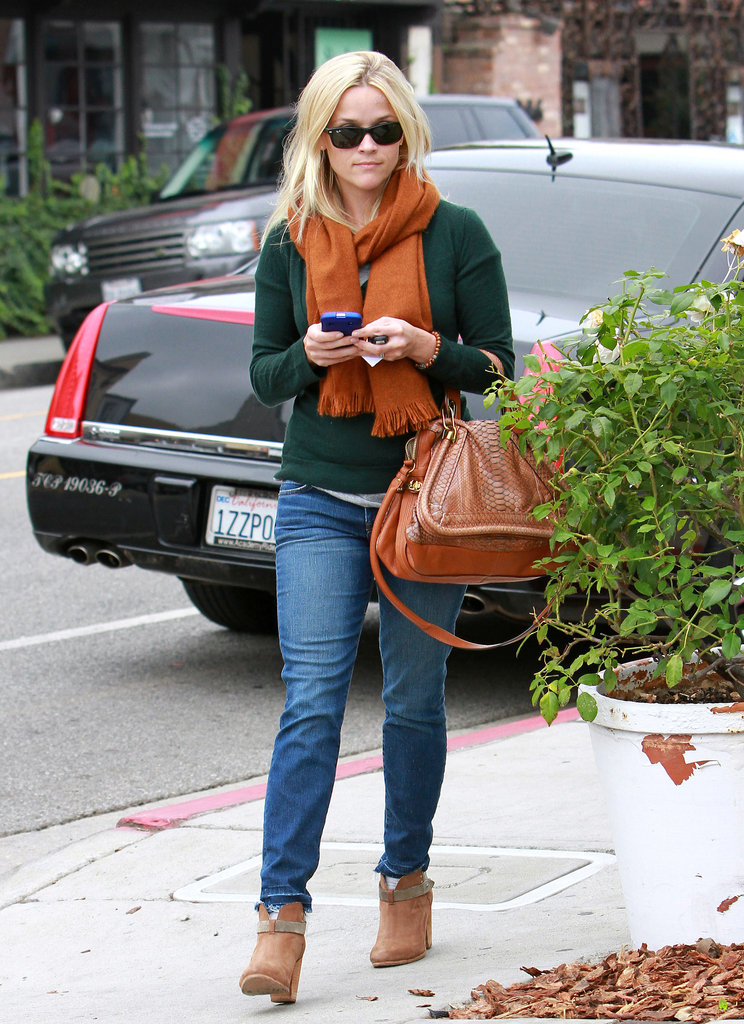 Reese Witherspoon in Green Sweater and Orange Scarf