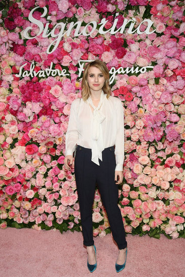 Emma Roberts didn't sport the Spring brights as obviously, but her bold-hued heels certainly speak to the trend.