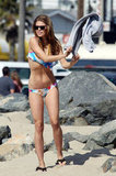 AnnaLynne McCord wore a tie-dyed two-piece by Bettinis Bikinis to the beach.