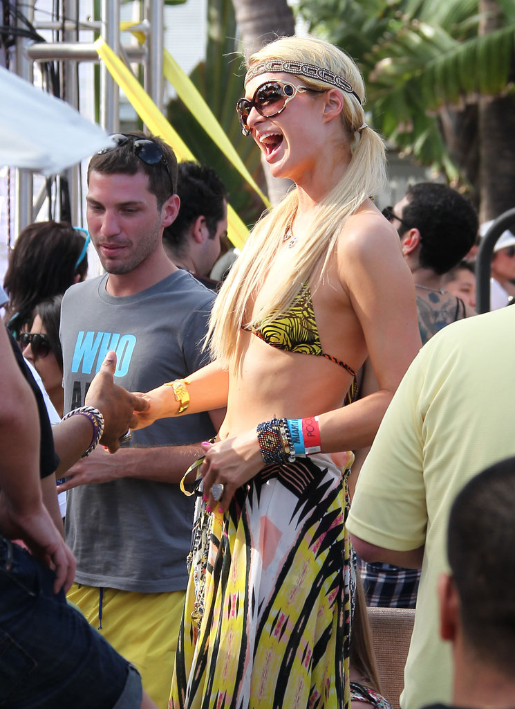 Paris Hilton was chatting it up in Miami.