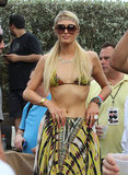 Paris Hilton wore a headband with her pigtails and sunglasses in Miami.