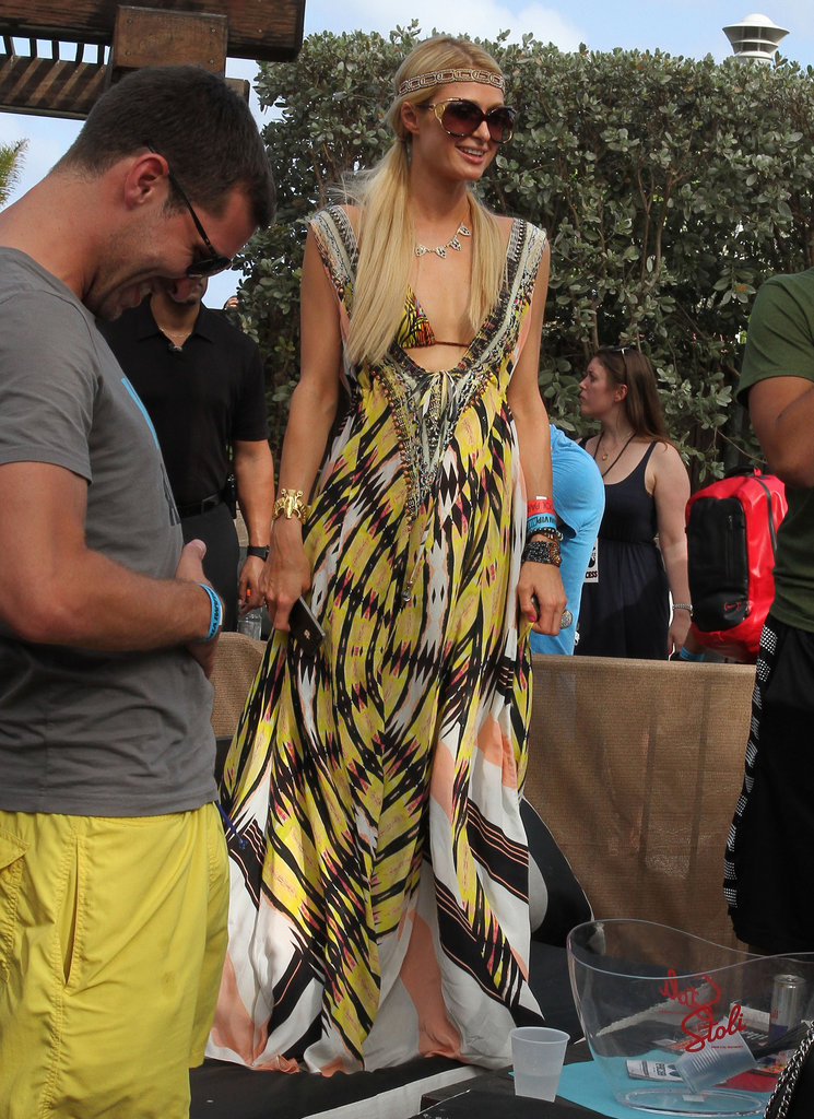 Paris Hilton wore pigtails and a colorful dress in Miami.