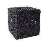 In woven rattan, the black Sebria Tissue Box Cover ($30) is a sturdy, neutral option that pairs well with any decor.