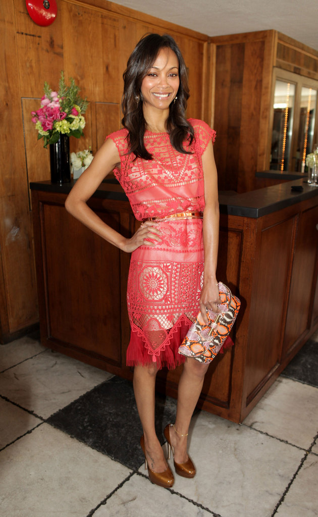 Zoe Saldana accessorized with a bold Jimmy Choo clutch for a sweet-cum-cool cocktail style.  4931984
