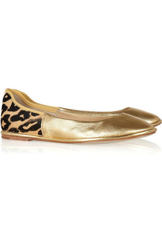 Diane von Furstenberg|Metallic leather and printed calf hair ballet flats|NET-A-PORTER.COM