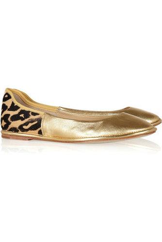 Diane von Furstenberg|Metallic leather and printed calf hair ballet flats|NET-A-PORTER.COM