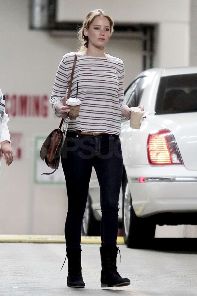 Jennifer Lawrence sported skinny jeans.