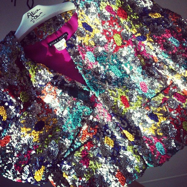A bold, glittery jacket was calling our name at the Alice + Olivia preview.