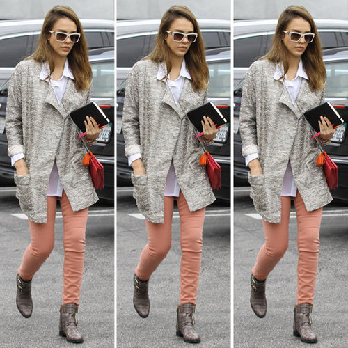 Jessica Alba Metallic Tweed Coat