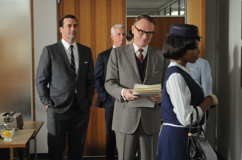 Jon Hamm as Don Draper, John Slattery as Roger Sterling, and Jared Harris as Lane Pryce on Mad Men.  Photo courtesy of AMC