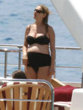 Uma Thurman wore a black bikini while vacationing in St. Barts.