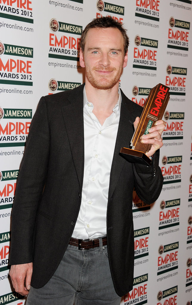 Michael Fassbender with his hero award at the Jameson Empire Awards in London.