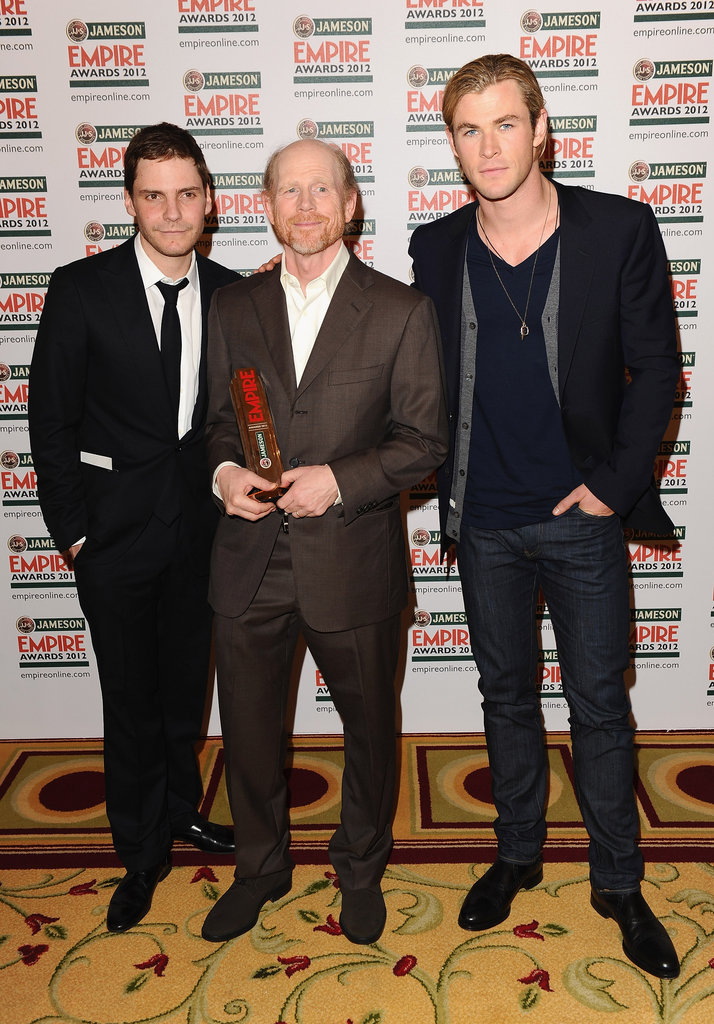 Daniel Bruhl and Chris Hemsworth with Empire Inspiration winner Ron Howard during the Jameson Empire Awards.