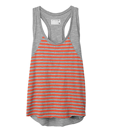 We love Rag & Bone's doubly sporty tank thanks to the racer back cut and striped detailing.  Rag & Bone Raglan Racer Tank ($75)