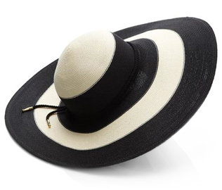 """This two-tone Eugenia Kim topper proves essential on sun-soaked Spring days!"" Eugenia Kim Bunny Wide Striped Sunhat ($297)"