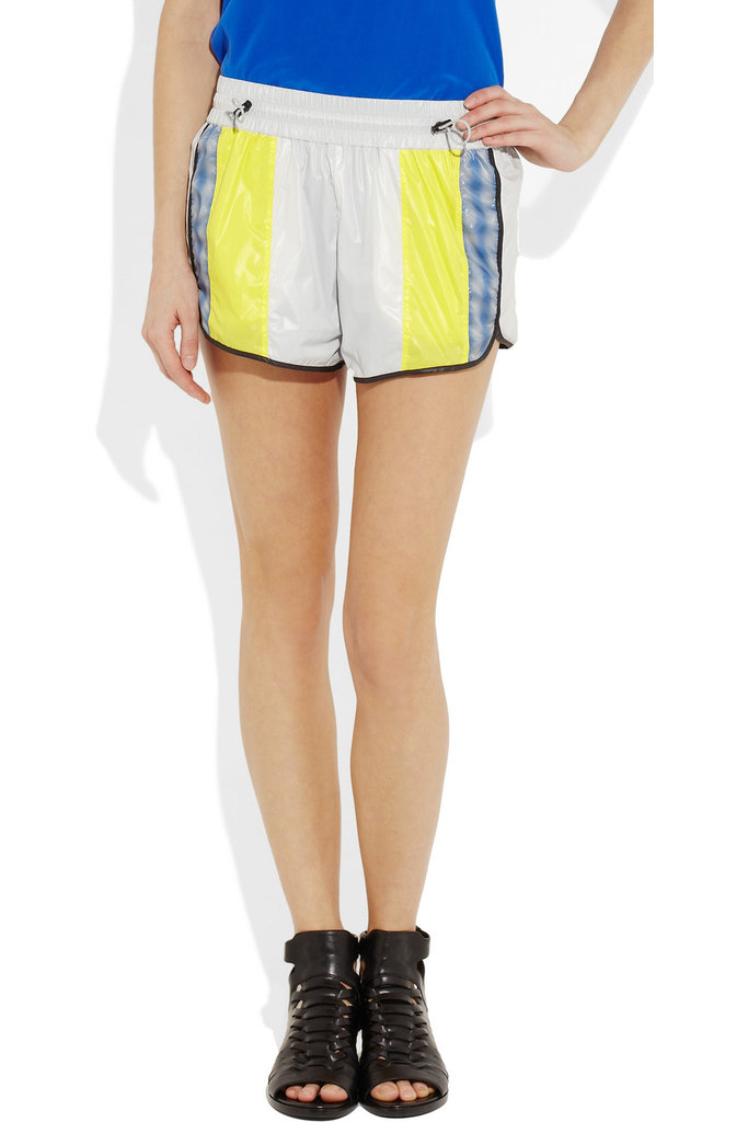 We love the idea of pairing these neon stripe shorts with fancy heels, a silk tank, and blazer for a fun fashion event.  Alexander Wang Striped Shell Shorts ($365)