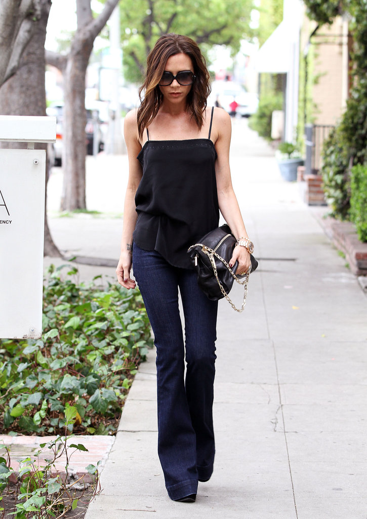 Victoria Beckham proved that this sexy silhouette needs little else but a black tank top to dress it up.