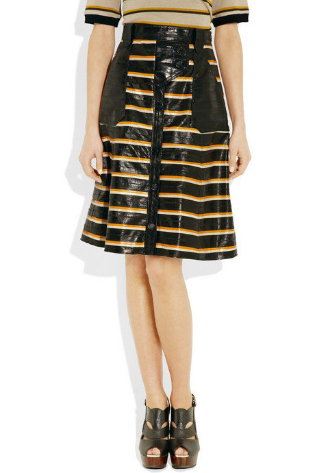 We'd wear this textural sporty stripe skirt with a plain tank and flat sandals for an eclectic sporty look.  Proenza Schouler Striped Eel Skirt ($2,650)