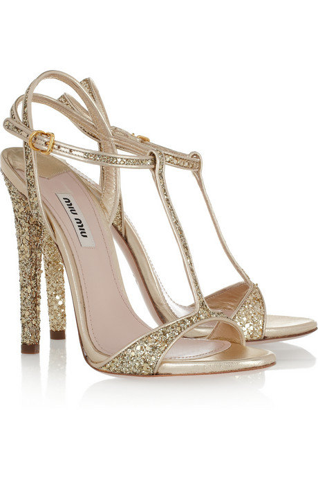 Miu Miu Glitter-Finish Leather Sandals ($730)