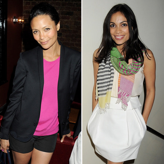 Rosario Dawson Colorful Striped Scarf