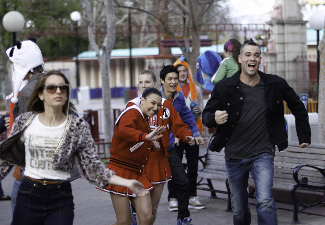 Vanessa Lengies as Sugar, Naya Rivera as Santana, Heather Morris as Britney, Harry Shum Jr. as Mike, and Mark Salling as Puck on Glee. Photo courtesy of Fox