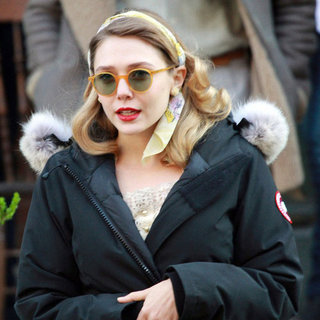 Elizabeth Olsen Pictures on Kill Your Darlings Set