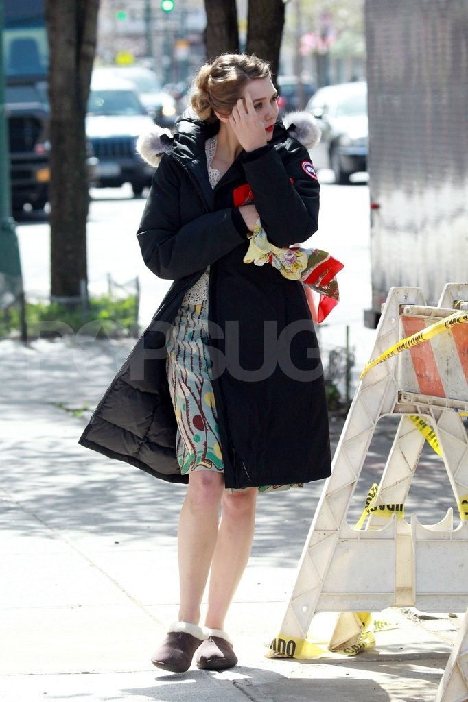 Elizabeth Olsen on set in NYC.