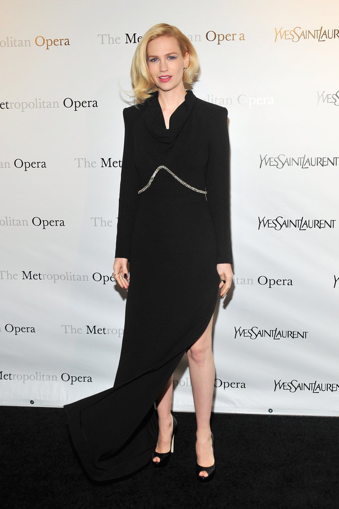 January Jones attended the Metropolitan Opera gala in NYC.