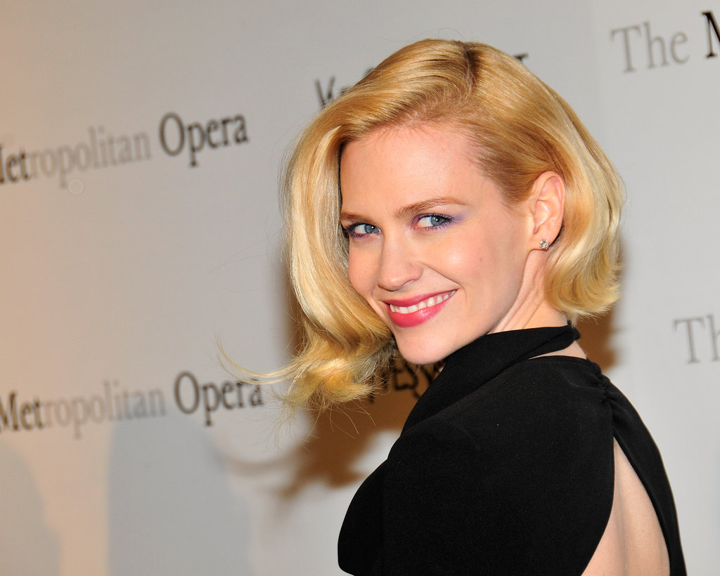January Jones gave a smile in a black open-back dress at the Metropolitan Opera gala in NYC.