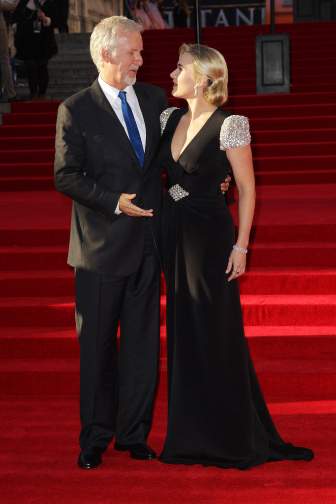 Kate Winslet and James Cameron chatted at the Titanic 3D world premiere in London.