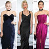 January Jones and Emma Roberts in YSL at Met Opera